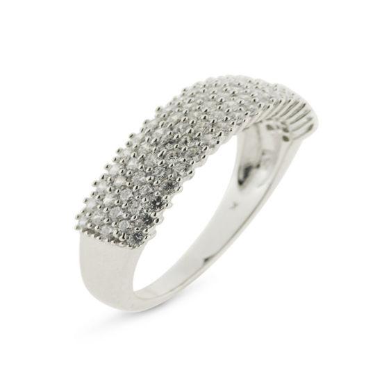 Billede af *By Pind ring sølv rhodinderet med 5 rækker zirkoniasten str. 56