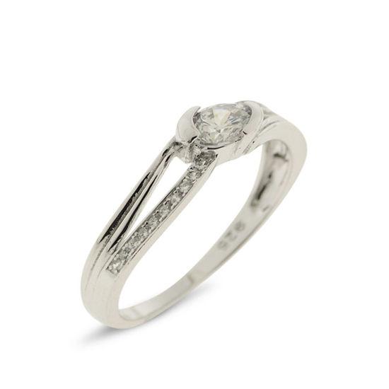 Billede af *By Pind ring sølv rhodineret med zirkoniasten str. 49