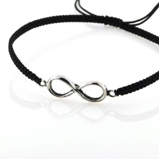 Billede af By Pind armbånd sort knyttet med sølv evighedstegn