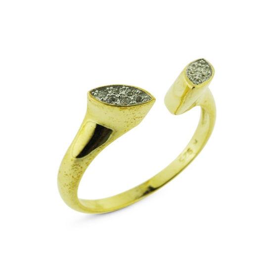 Billede af *By Pind ring sølv forgyldt med zirkonia sten str 57