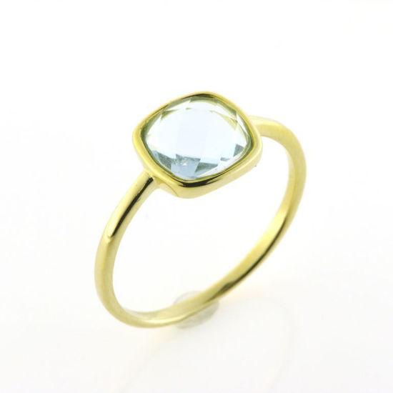 Billede af By Pind ring sølv forgyldt med aquamarin str. 59