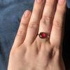 Billede af By Pind ring sølv forgyldt med rød rubin