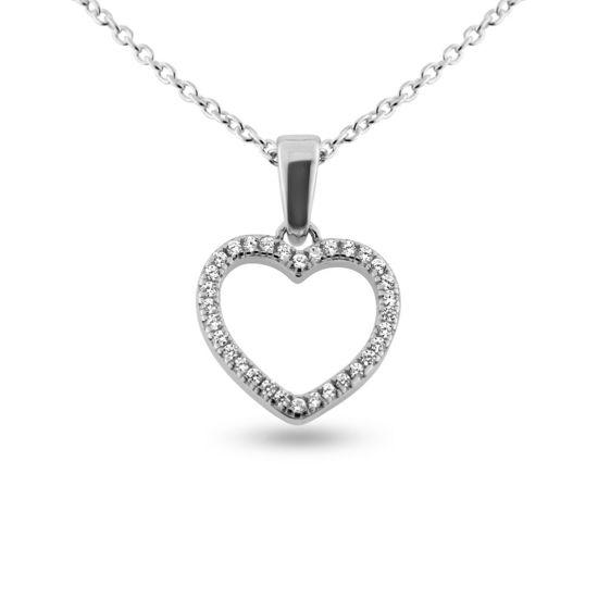 Billede af By Pind  halskæde sølv rhodineret hjerte vedhæng med zirkoniasten