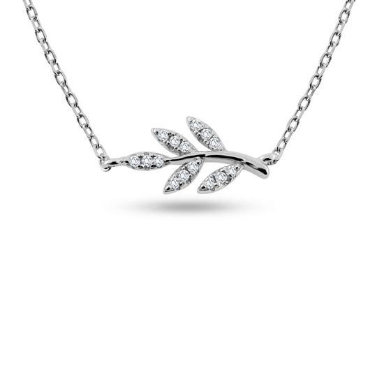 Billede af By Pind halskæde sølv rhodineret blad paveret med zirkoniasten