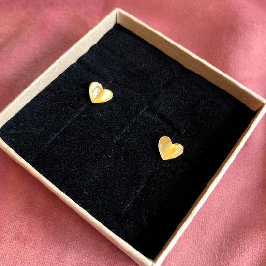 Billede af By Pind ørestikker sølv forgyldt hjerte med zirkoniasten