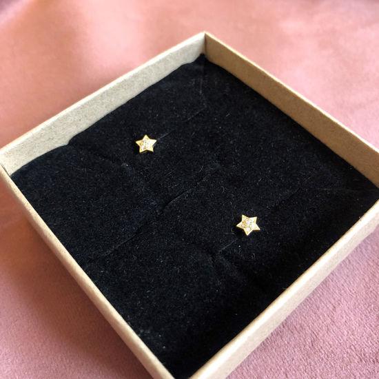 Billede af By Pind ørestikker sølv forgyldt stjerne med zirkoniasten