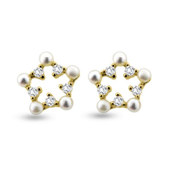 Billede af By Pind ørestikker sølv forgydt stjerne zirkoniasten og perle