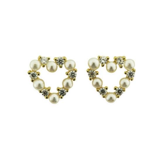 Billede af By Pind ørestikker sølv forgyldt hjerte af zirkoniasten og hvide perler