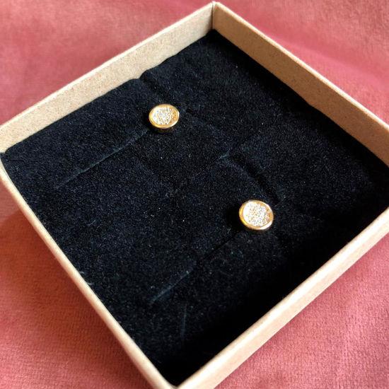 Billede af By Pind ørestikker sølv forgyldt rund med zirkoniasten
