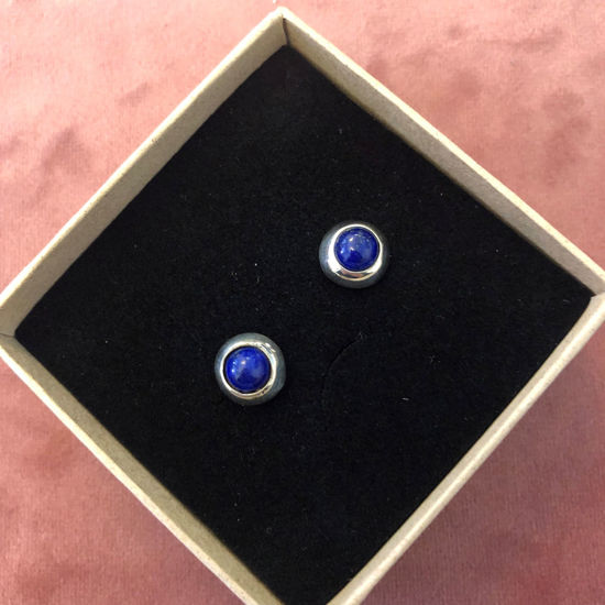 Billede af By Pind ørestikker sølv med blå lapis