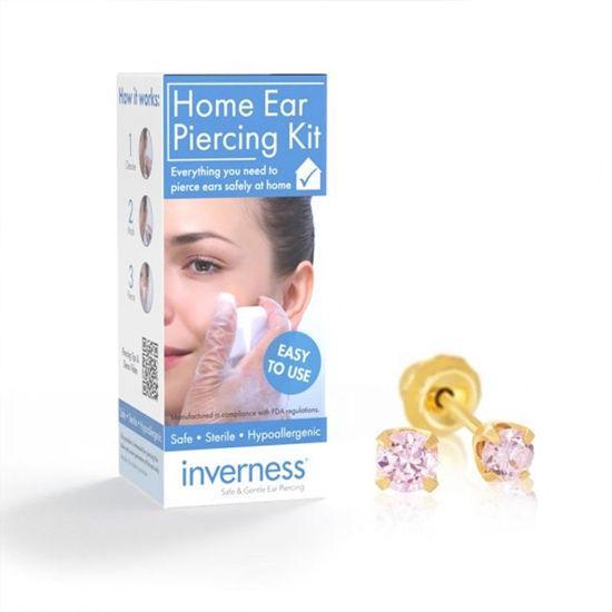 Billede af Inverness Home Ear Piercing Kit - Lav selv hul i ørene (komplet sæt kugle 3 mm forgyldt pink ice)