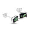 Billede af By Pind ørestik sølv rhodineret med smaragd grøn zirkoniasten