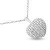 Billede af By Pind halskæde sølv rhodineret med hjerte vedhæng med zirkonia sten (40, 45 eller 50 cm)