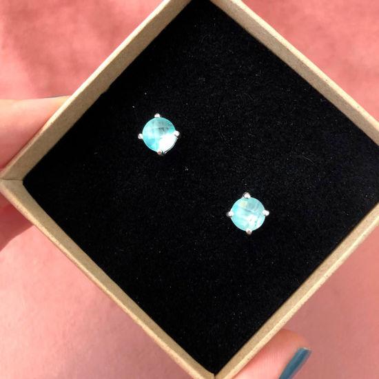 Billede af By Pind ørestik sølv med topas blå zirkoniasten og grabber 7mm