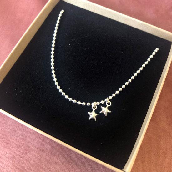 Billede af By Pind ankelkæde sølv kuglekæde med to stjerner og en kugle i enden