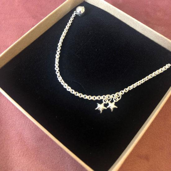 Billede af By Pind ankelkæde sølv med to stjerner og en kugle i enden