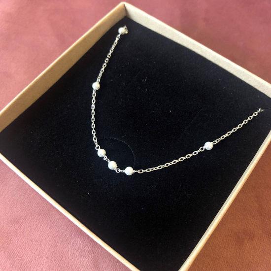Billede af By Pind ankelkæde sølv med hvide perler