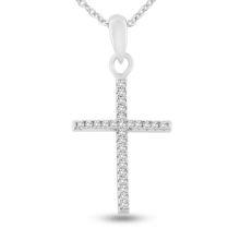 Billede af By Pind halskæde sølv rhodineret med kors med zirkonia sten (45 cm)