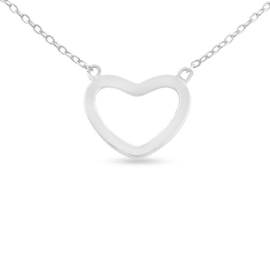 Billede af By Pind halskæde sølv rhodineret med åben hjerte (45 cm)