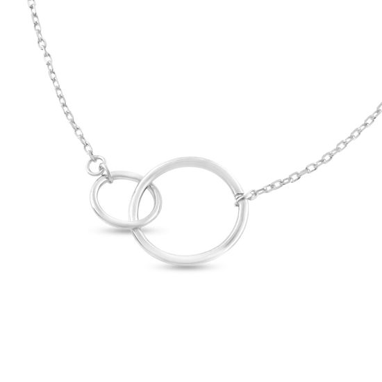 Billede af By Pind halskæde sølv rhodineret med enkelt zirkoniasten (43+3cm)