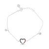 Billede af By Pind armbånd sølv rhodineret med hjerte af farvede zirkoniasten