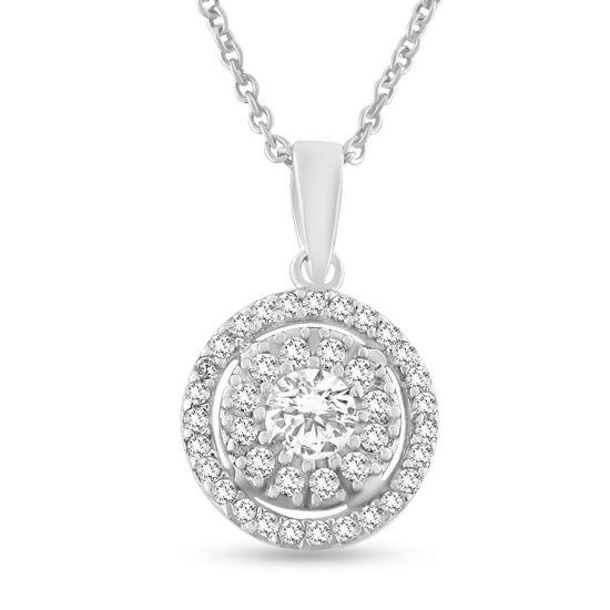 Billede af *By Pind halskæde sølv rhodineret med zirkonia sten med rund anker kæde (40,45 eller 50 cm)