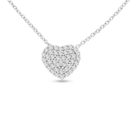 Billede af By Pind halskæde sølv rhodineret hjerte med zirkoniasten