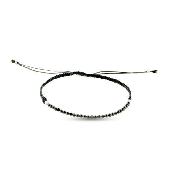Billede af By Pind armbånd sort knyttet med sort spinel og sølv kugler