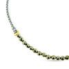 Billede af By Pind armbånd lys grøn knyttet med pyrite og sølv forgyldte kugler