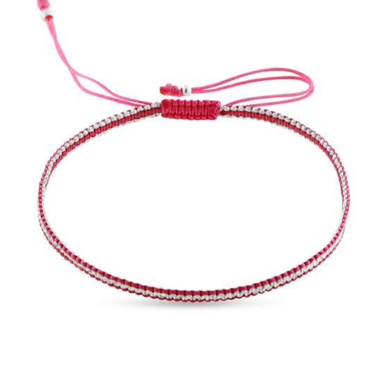 Billede af By Pind Colorful knyttet armbånd pink og sølvfarvet med sølv kugler
