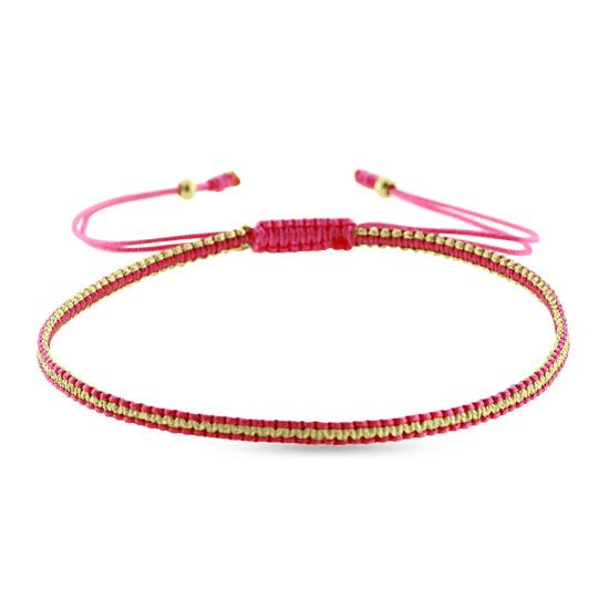 Billede af By Pind Colorful knyttet armbånd pink og guldfarvet med sølv forgyldte kugler