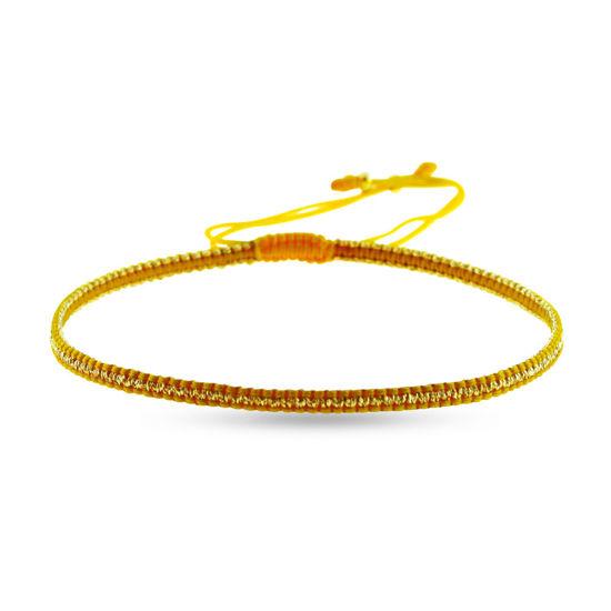 Billede af By Pind Colorful knyttet armbånd karrygul og guldfarvet med sølvfg. kugle