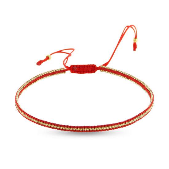 Billede af By Pind Colorful knyttet armbånd rød og guldfarvet med sølv forgyldte kugler