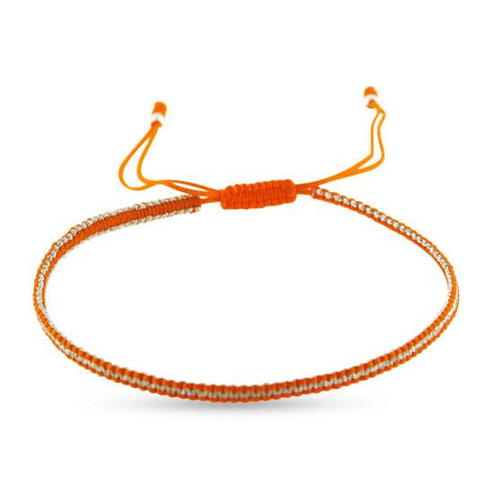 Billede af By Pind Colorful knyttet armbånd orange og sølvfarvet med sølv kugler
