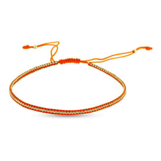 Billede af By Pind Colorful knyttet armbånd orange og guldfarvet med sølvfg. kugle