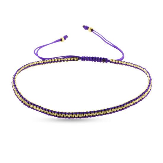 Billede af By Pind Colorful knyttet armbånd lilla og guldfarvet med sølv forgyldte kugler