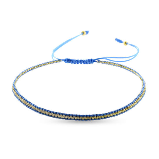 Billede af By Pind Colorful knyttet armbånd lyseblå og guldfarvet med sølv forgyldte kugler