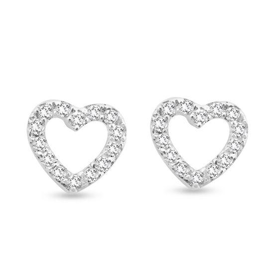 Billede af By Pind ørestikker i sølv åbent hjerte med zirkoniasten