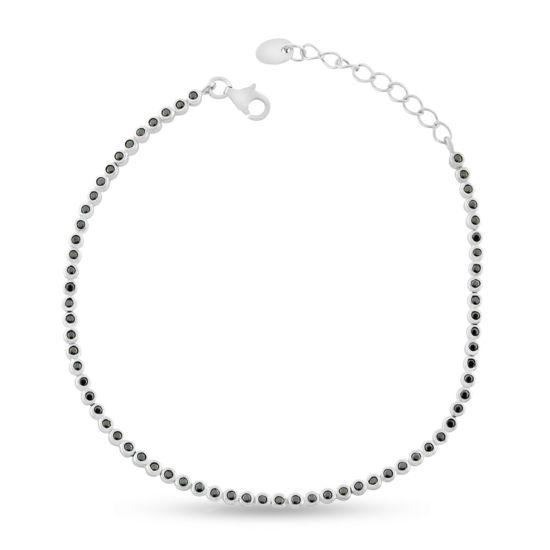 Billede af By Pind tennisarmbånd sølv med rørfatning sorte zirkoniasten (18cm)