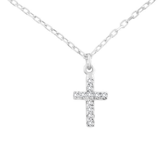 Billede af By Pind halskæde sølv rhodineret med kors zirkoniasten (42-45cm)