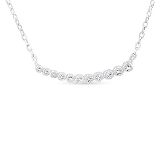 Billede af By Pind halskæde sølv rhodineret zirkoniasten på række (40+5cm)