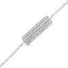 Billede af Classic by Pind armbånd med plade sølv rhodineret med zirkonia 15,5+3cm