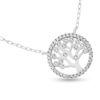 Billede af By Pind sølv rhodineret halskæde med livets træ med zirkonia sten (40+5cm)