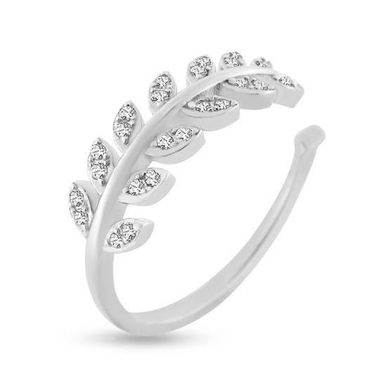 Billede af By Pind ring sølv rhodineret med små blade med zirkoniasten (str 47-60)