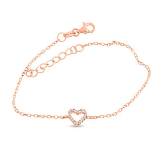 Billede af By Pind armbånd sølv rosa forgyldt med hjerte med zirkoniasten (16+3 cm)