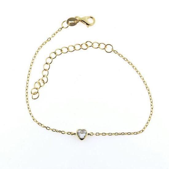 Billede af By Pind armbånd sølv forgyldt med hjerte med zirkoniasten (16+5cm)