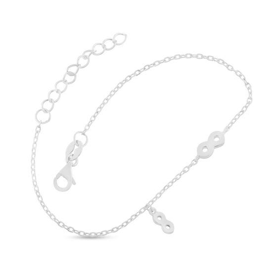 Billede af By Pind armbånd sølv rhodineret med evighedshedstegn (16+3cm)