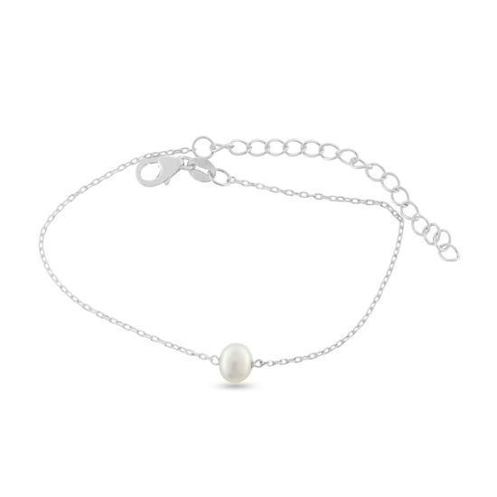 Billede af By Pind armbånd sølv rhodineret med ferskvandsperle (16+5cm)