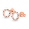 Billede af By Pind ørestikker sølv rosaforgyldt med cirkel med zirkonia sten 8mm