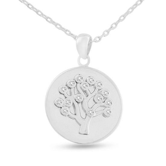 Billede af By Pind halskæde sølv rhodineret med livets træ vedhæng med zirkoniasten (40+5cm)
